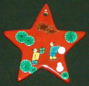 九谷焼陶器のクリスマオーナメント~星型唐人雪だるま