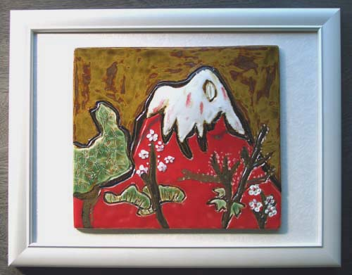 オリジナル美術陶板赤富士