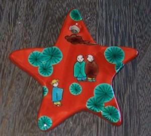 九谷焼陶器のクリスマオーナメント~唐人星型