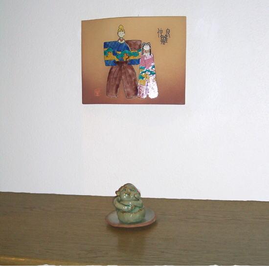 九谷焼雛飾り~仲良し雛瓦焼紫手
