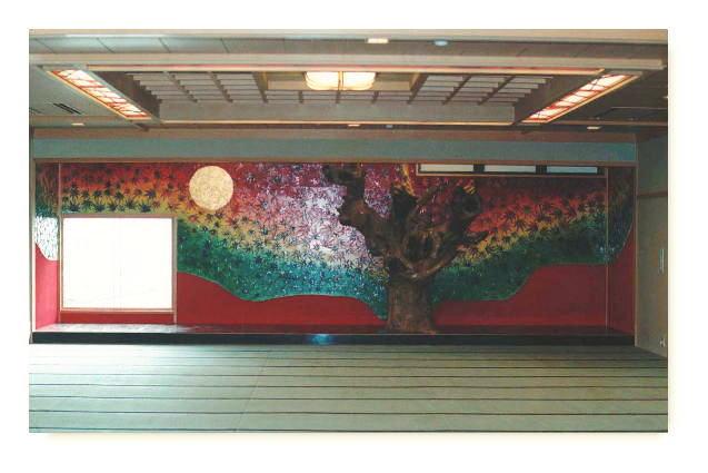 泉椿魚氏作品~富山県氷見市 民宿 磯波風(いそっぷ) 大広間舞台 紅葉陶板